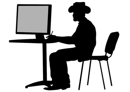 writer: Writer in big hat at table whit computer