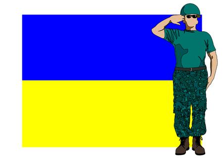 ukrainian flag: Soldier in uniform with Ukrainian flag Illustration