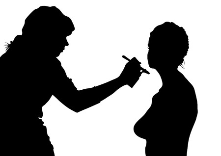 Silhouettes of young girls in beauty salon Vector