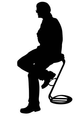 forwards: Businessman in suit on metal chair