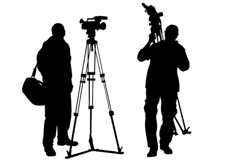 Journalist and tripod of video camera Vector