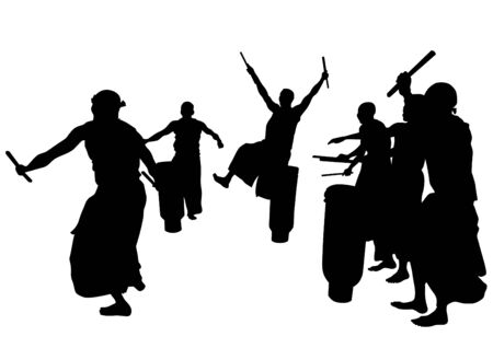 musician silhouette: Group of musicians from Africa with large drums Illustration