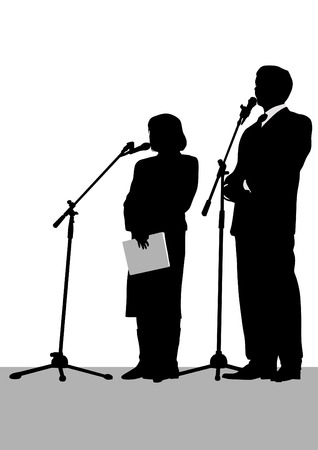 forwards: Man and woman in business suits at microphones