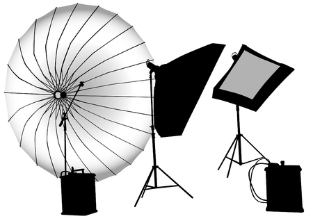 strobe light: Lighting equipment for photographic studios Illustration