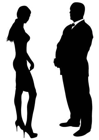 heterosexual: Couple of beauty women and man in suit Illustration