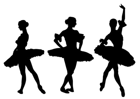 Ballerina in theatrical costume on a white background