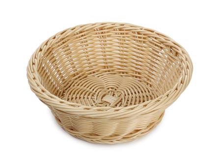 interleaved: Empty wicker basket on a white background