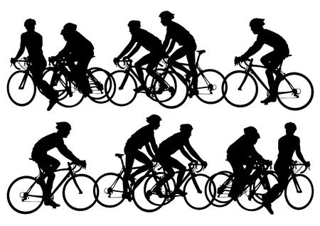 Sport man van fietsers tegen concurrerende