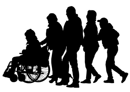 lame: Silhouettes wheelchair and crowds people