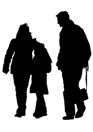 Families with a child on white background Vector