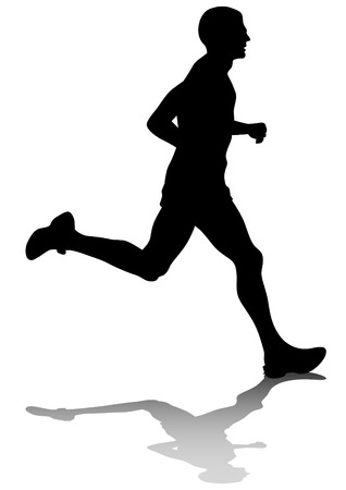 jogging: Silhouette of man athletes on running race