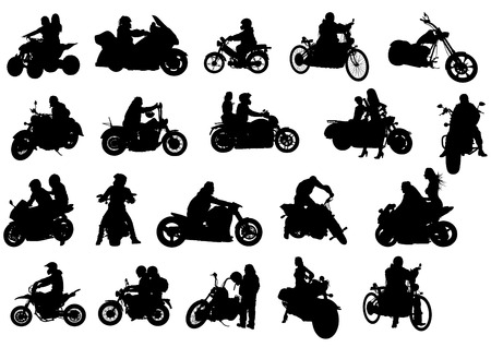 Silhouettes of moto bike with people Çizim