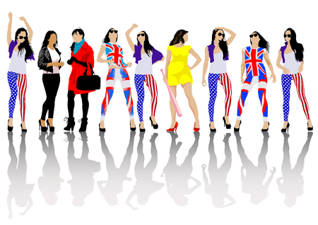 brit: Woman of dress colors of British and american flag Illustration
