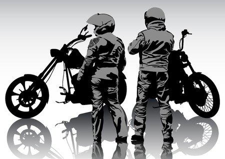 Silhouettes of motorcyclists protective gear and helmet Vector