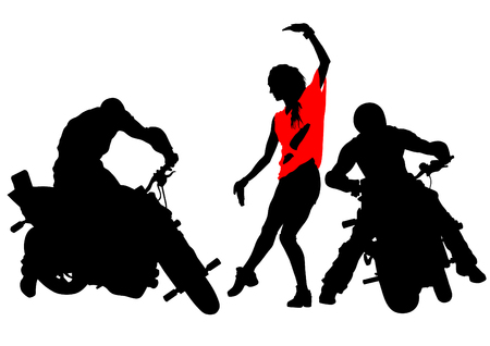 Silhouettes of moto bike whit people Vector