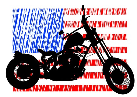 Old biker and retro motorcycle on american flag