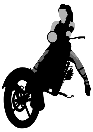 Beauty bikers women and retro motorcycle Vector