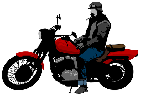 Old biker and retro motorcycle on white background Vector