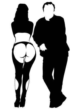 Man and women in black clothes on white background