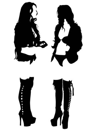 curvaceous: Young women in black clothes on white background Illustration