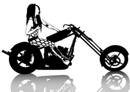 Beauty bikers women and retro motorcycle Vector