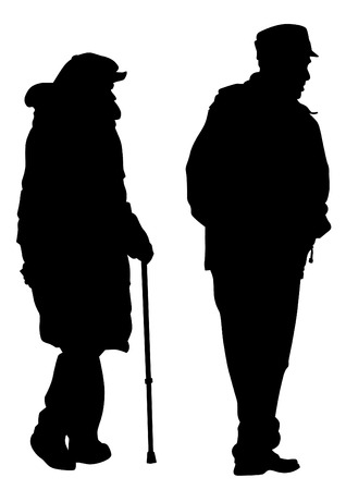 elderly people: Vector drawing of two elderly people with cane
