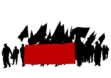 People of anarchia with large flags Vector