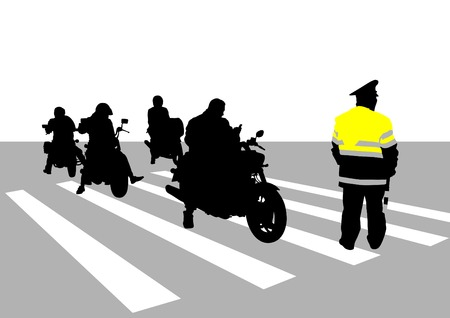 Traffic police officer and group of motorcycles Vector