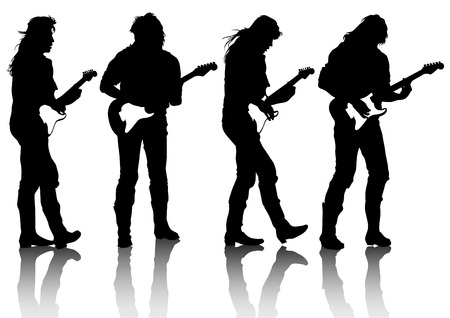 guitar player: Guitar rock band on a white background Illustration