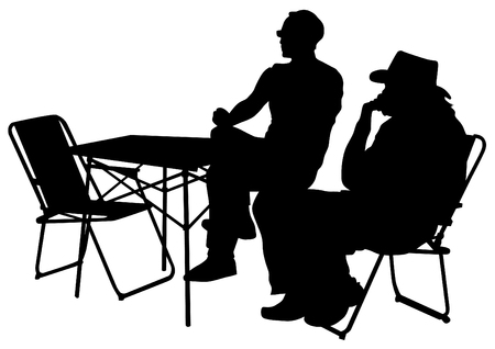 Men sit on chairs at table on a white background Vector