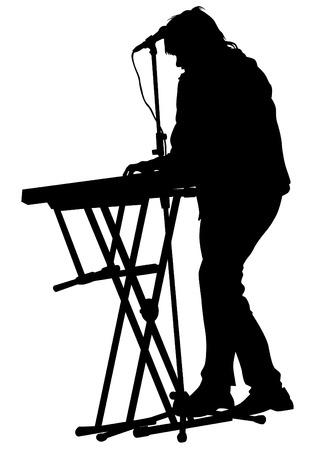 Pianist van de rock band op een witte achtergrond