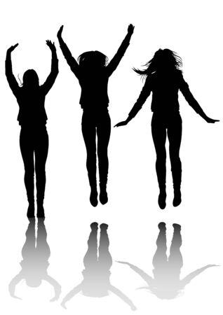 Jump beauty women on white background