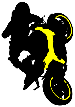 Motorcyclist performed extreme stunts on a white background Vector