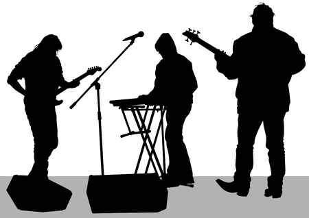 Pianist and guitarist of rock band on a white background Vector