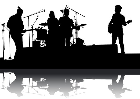 Concert of rock band on a white background Vector
