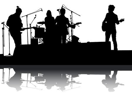 Concert van de rockband op een witte achtergrond Stock Illustratie