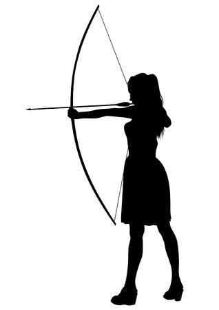 Silhouette of a girl with a bow on a white background