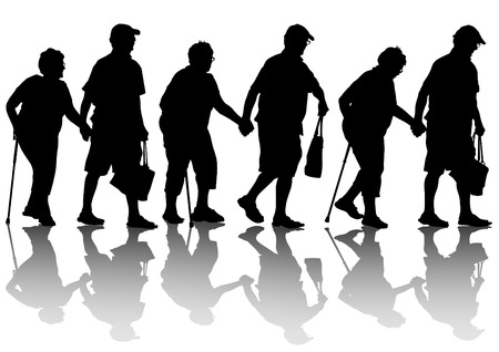 old couple walking: Two elderly people with cane one white background Illustration