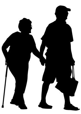 vecchiaia: Due persone anziane con canna uno sfondo bianco