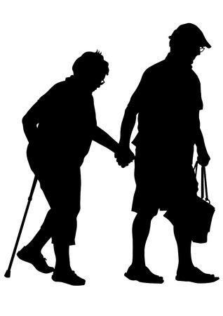 Dos personas de edad avanzada con una caña de fondo blanco
