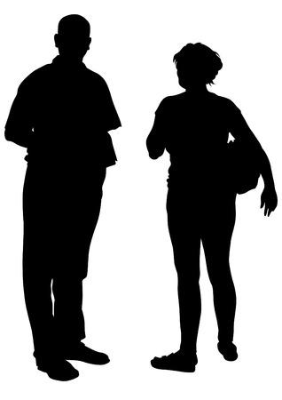 affectionate action: Pareja de joven y una ni�a en el fondo blanco