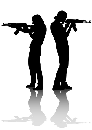 woman with gun: Soldier in uniform with gun on white background