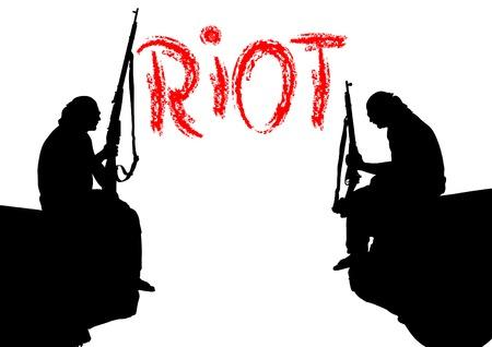 guerrilla: Soldier in uniform with gun on white background