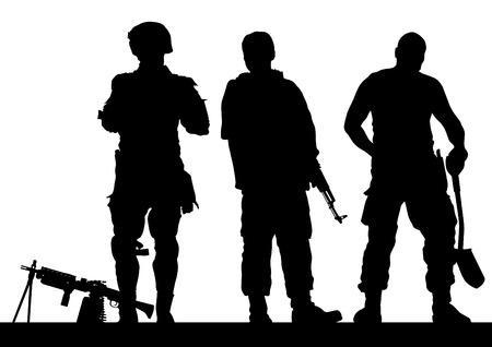 army soldier: Soldier in uniform with gun on white background