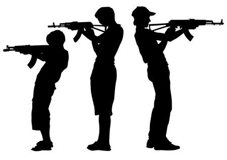 insurgency: Soldier in uniform with gun on white background