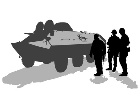 Soldier in uniform with gun on white background Vector