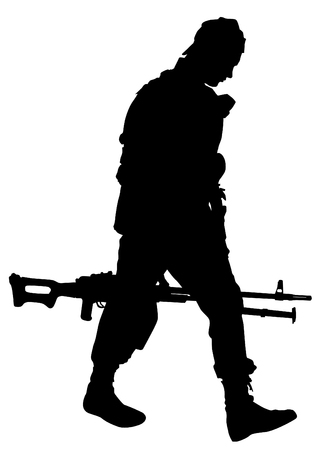 Soldier in uniform with gun on white background Vector