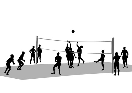 female volleyball: Young athletes playing volleyball on beach