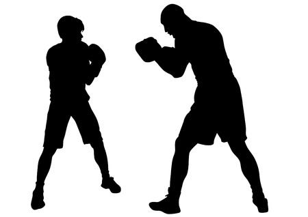 Duel of two boxers on a white background Vector