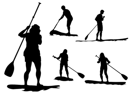 paddleboard: Athletes on a surfboard with a paddle on white background Illustration